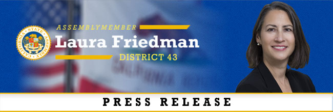 Header banner for press release. Photo of Assemblymember Friedman that says press release.